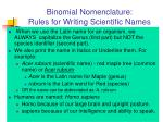 binomial nomenclature rules for writing scientific names