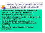 modern system a nested hierarchy seven levels of organization