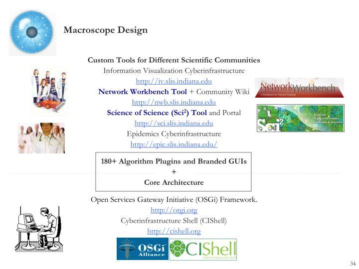 Custom Tools for Different Scientific Communities