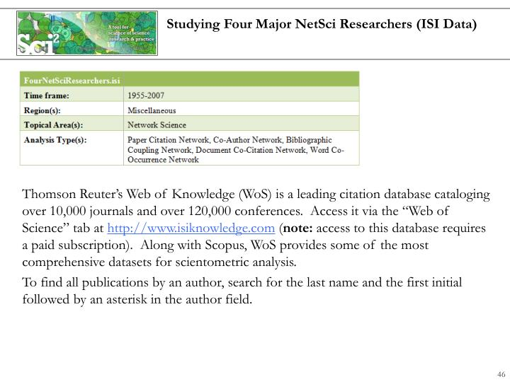 Studying Four Major NetSci Researchers (ISI Data)