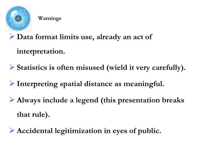 Data format limits use, already an act of interpretation.