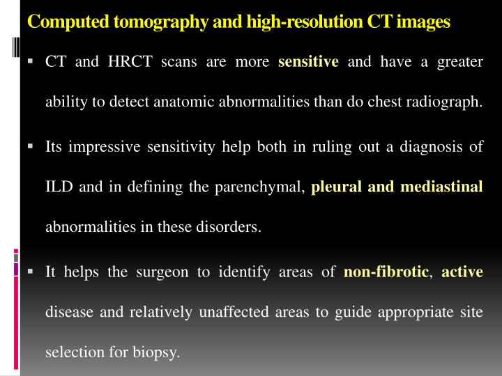 Computed tomography and high-resolution CT images