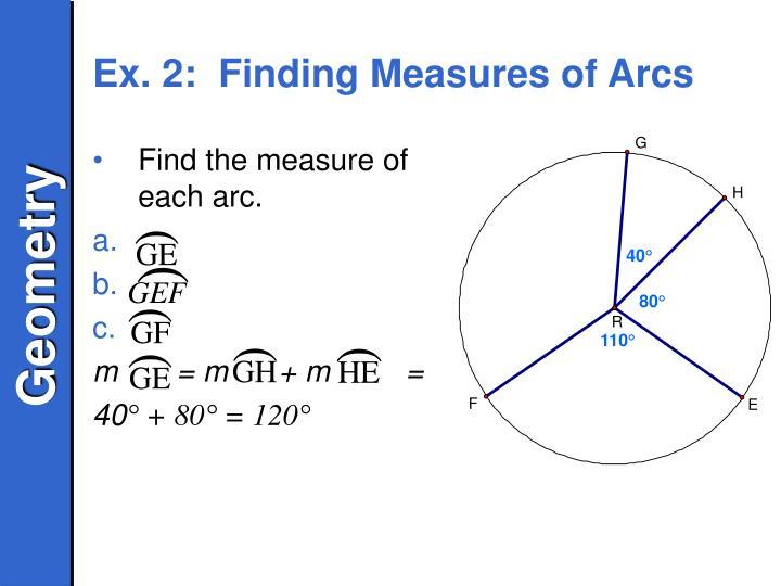 Ex. 2:  Finding Measures of Arcs