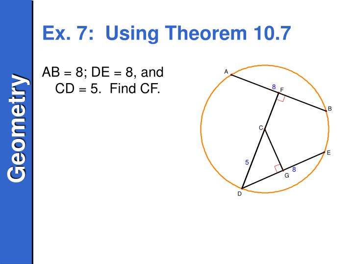 AB = 8; DE = 8, and CD = 5.  Find CF.