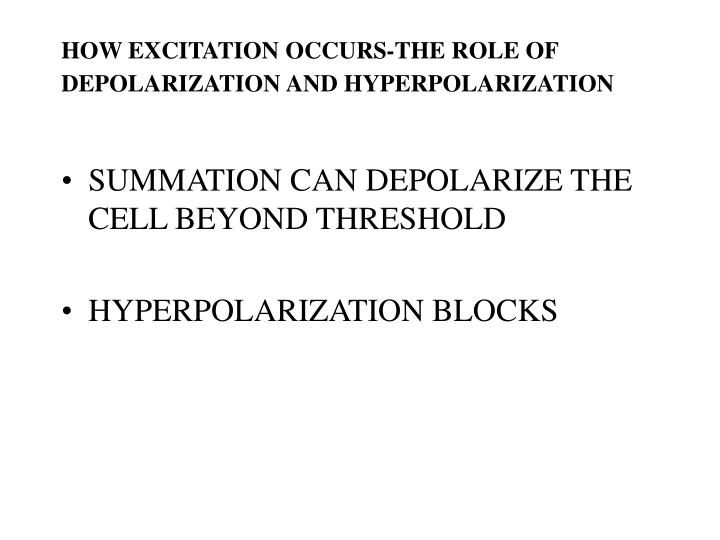 HOW EXCITATION OCCURS-THE ROLE OF DEPOLARIZATION AND HYPERPOLARIZATION
