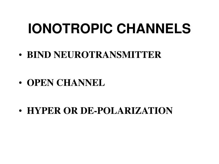 IONOTROPIC CHANNELS