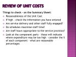 review of unit costs