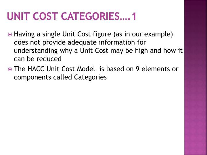 Unit Cost Categories….1