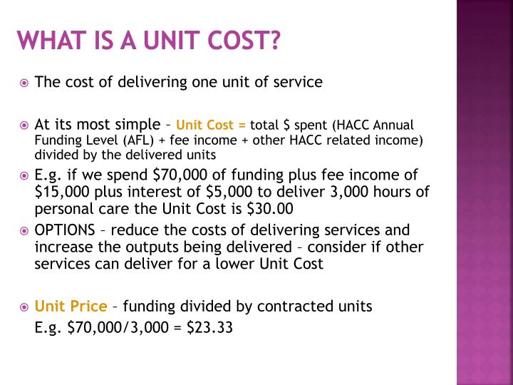 What is a Unit Cost?