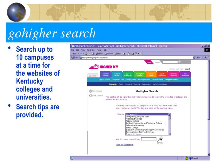 Search up to 10 campuses at a time for the websites of Kentucky colleges and universities.