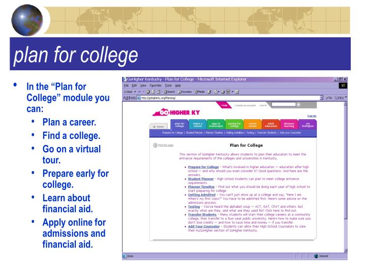 "In the ""Plan for College"" module you can:"