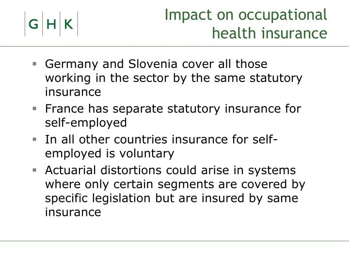 Impact on occupational health insurance