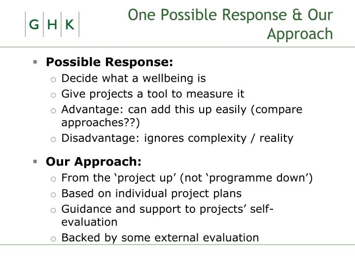 One Possible Response & Our Approach
