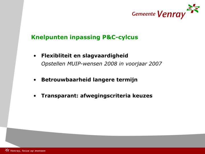 Knelpunten inpassing P&C-cylcus