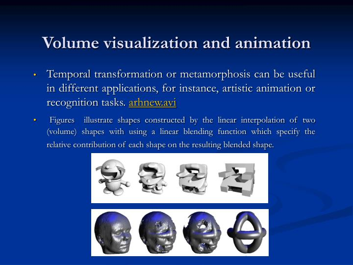 Volume visualization and animation