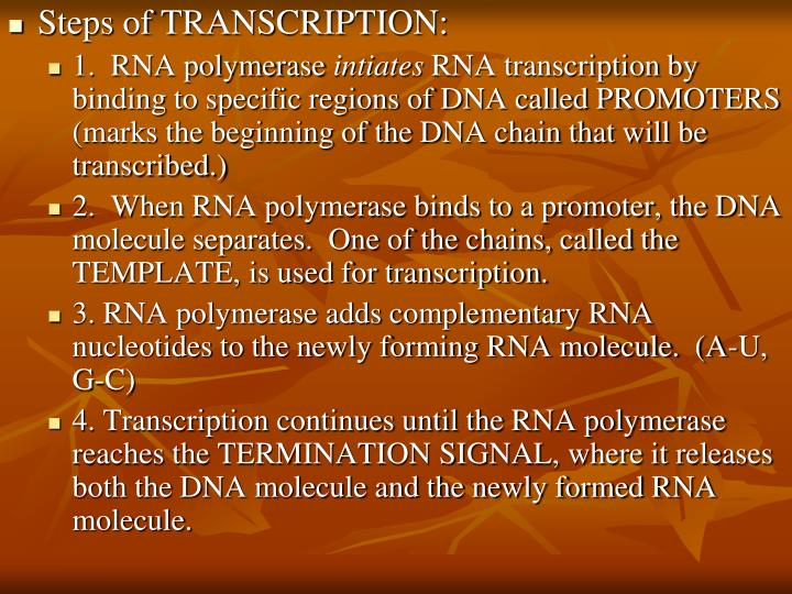 Steps of TRANSCRIPTION: