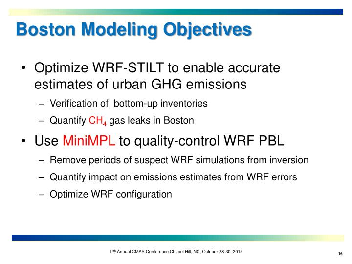 Boston Modeling Objectives