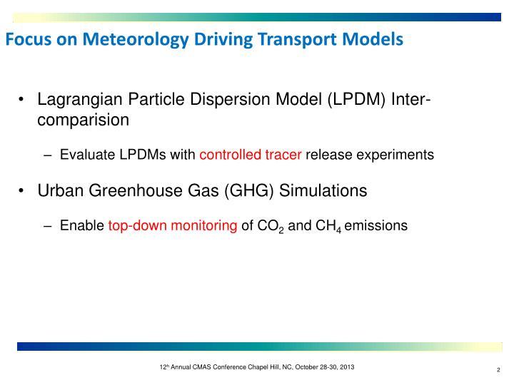 Lagrangian Particle Dispersion Model (LPDM) Inter-
