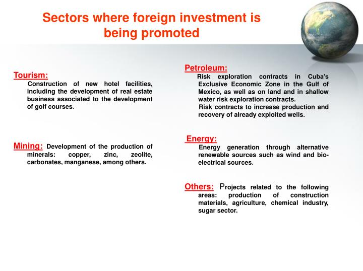 Sectors where foreign investment is being promoted