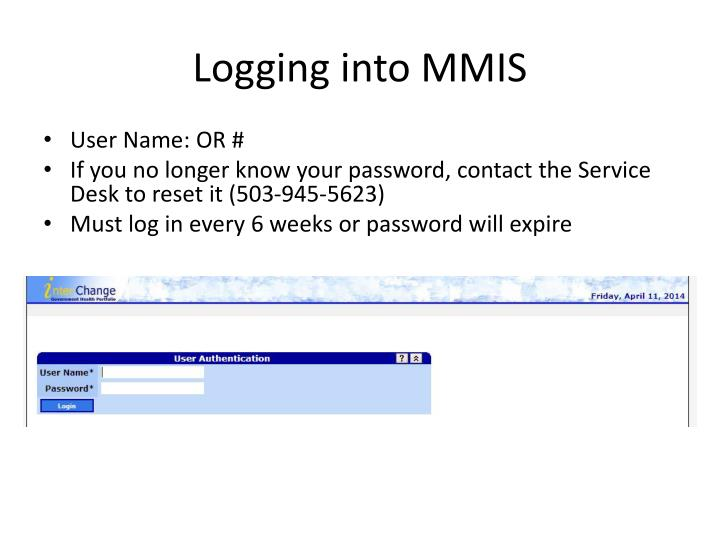 Logging into MMIS