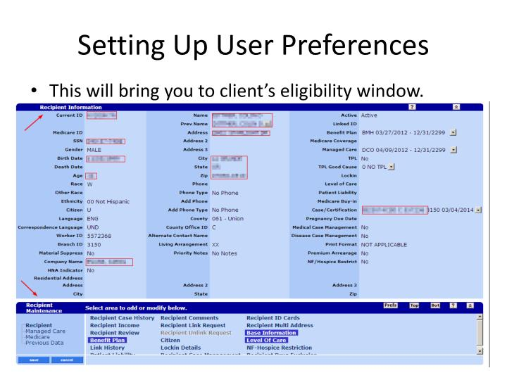 Setting Up User Preferences