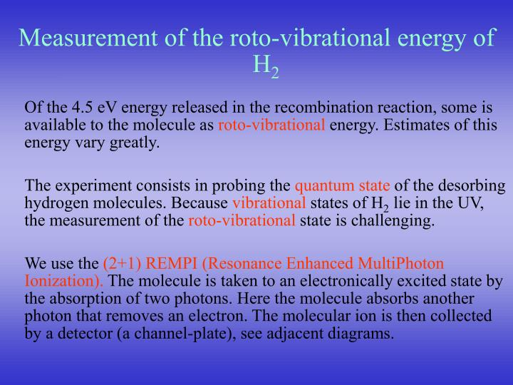 Measurement of the roto-vibrational energy of H