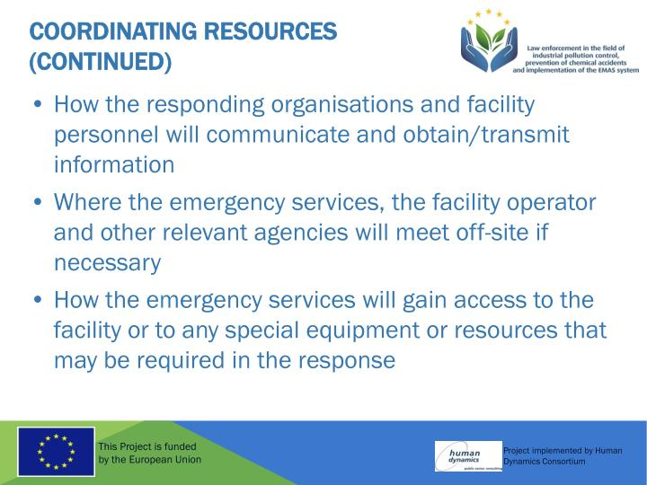 Coordinating Resources (Continued)