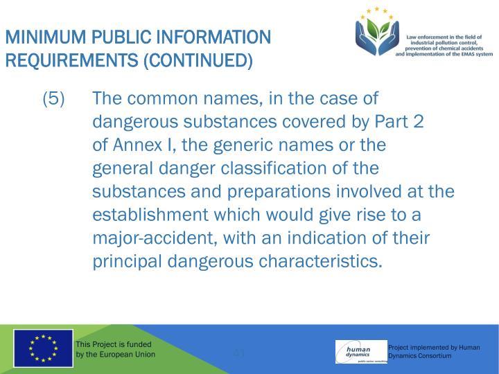 Minimum Public Information Requirements (Continued)