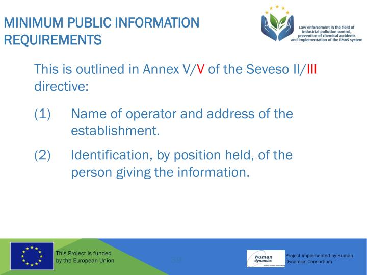 Minimum Public Information Requirements
