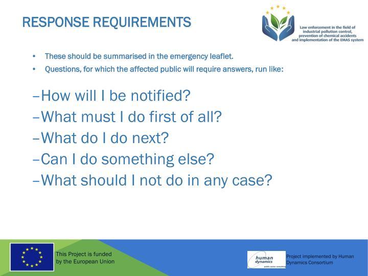 Response Requirements
