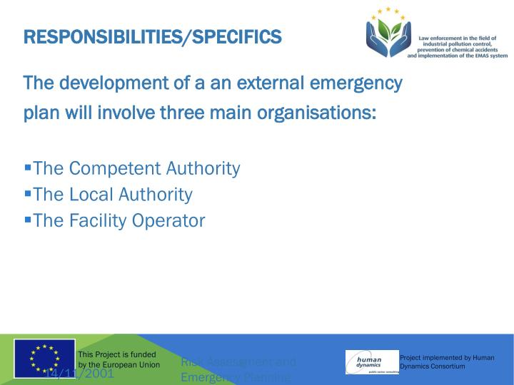 Responsibilities/Specifics