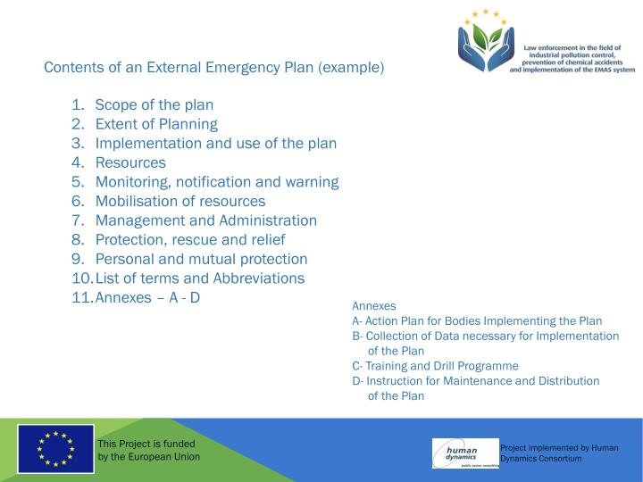 Contents of an External Emergency Plan (example)