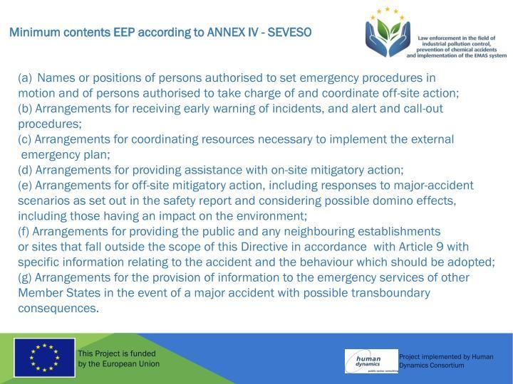 Minimum contents EEP according to ANNEX IV - SEVESO