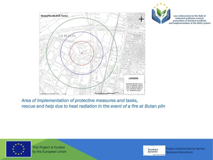Area of implementation of protective measures and tasks,