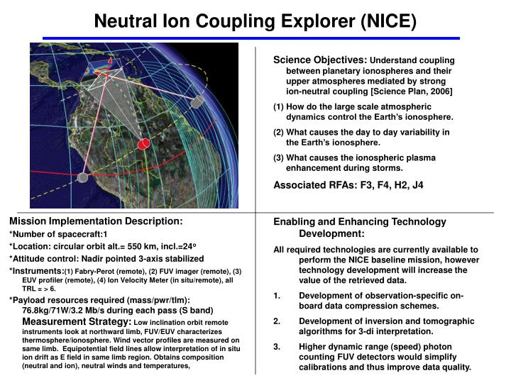 Neutral Ion Coupling Explorer (NICE)