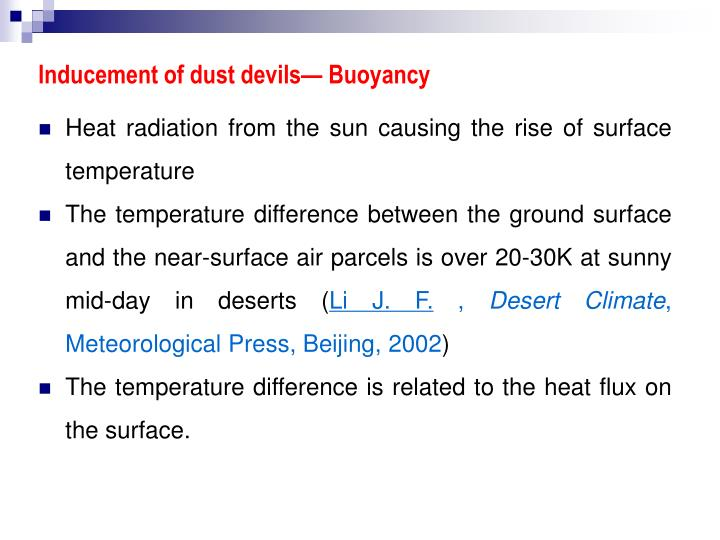 Inducement of dust devils— Buoyancy