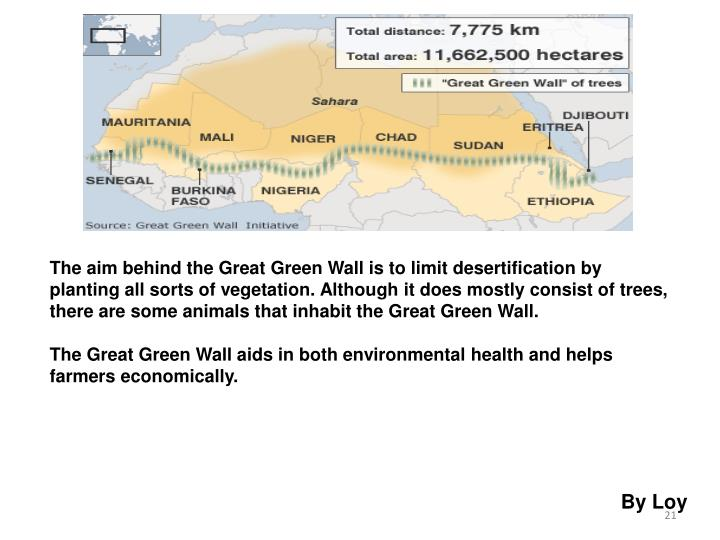 The aim behind the Great Green Wall is to limit desertification by planting all sorts of vegetation. Although it does mostly consist of trees, there are some animals that inhabit the Great Green Wall.