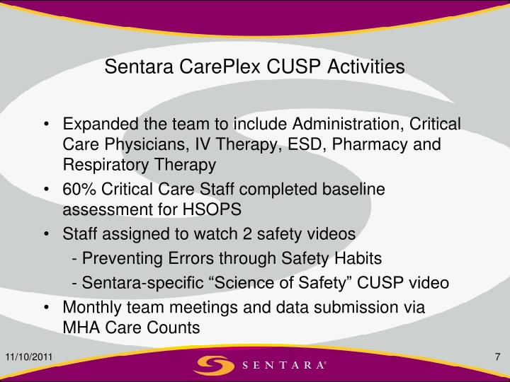 Sentara CarePlex CUSP Activities