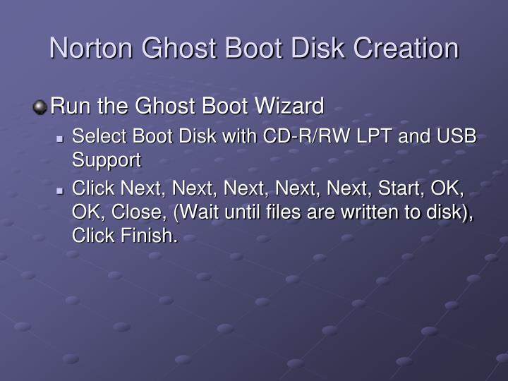Norton Ghost Boot Disk Creation