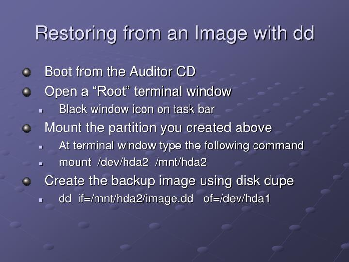 Restoring from an Image with dd