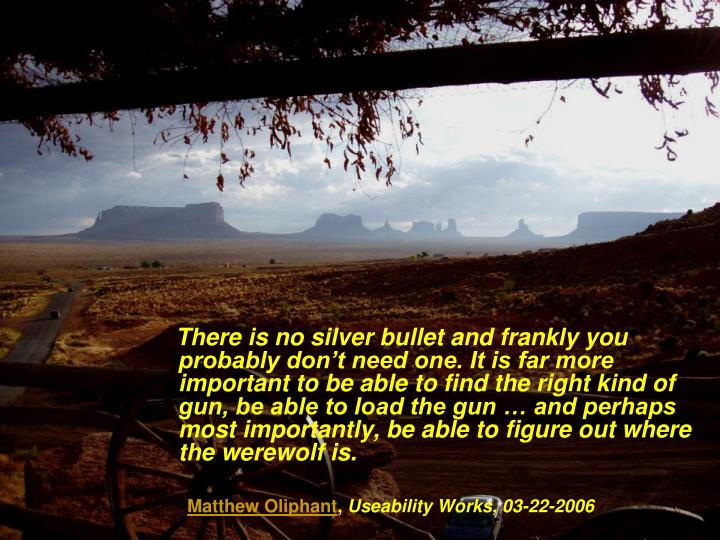 There is no silver bullet and frankly you probably don't need one. It is far more important to be able to find the right kind of gun, be able to load the gun … and perhaps most importantly, be able to figure out where the werewolf is.
