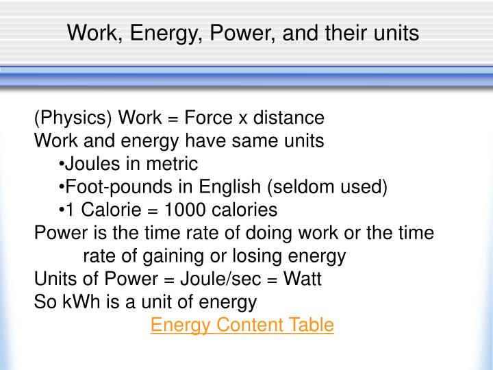 Work, Energy, Power, and their units