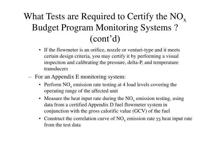 What Tests are Required to Certify the NO