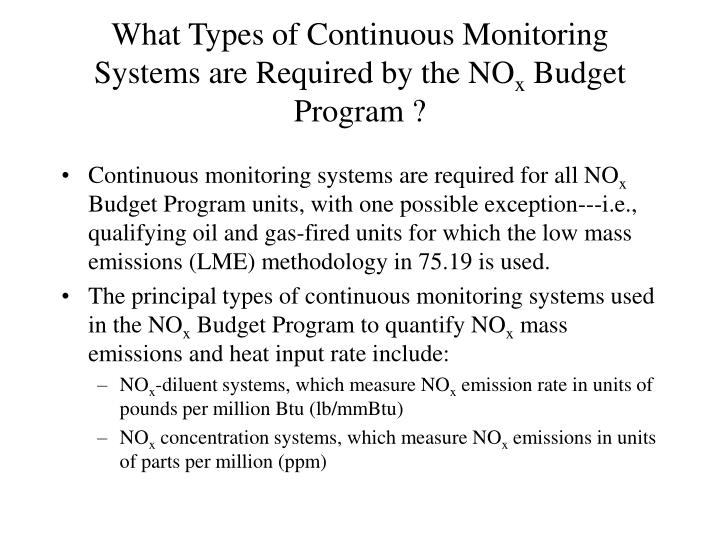 What Types of Continuous Monitoring Systems are Required by the NO