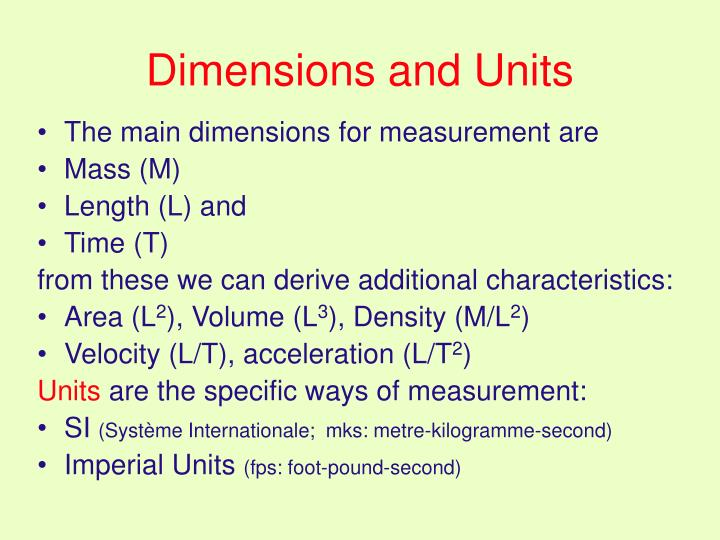 Dimensions and Units