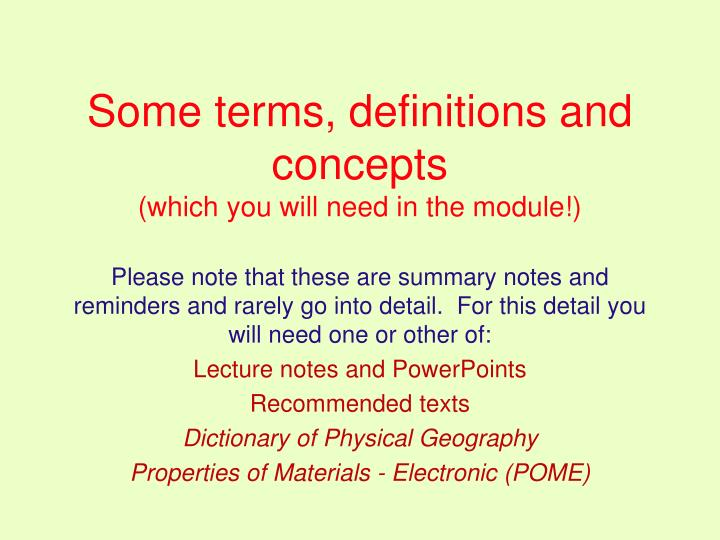 Some terms, definitions and concepts