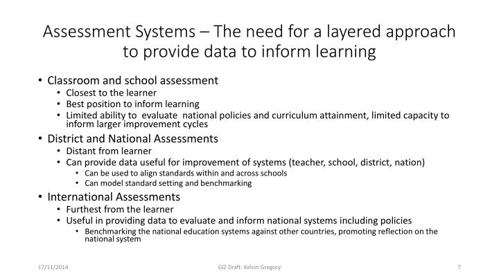 Assessment Systems – The need for a