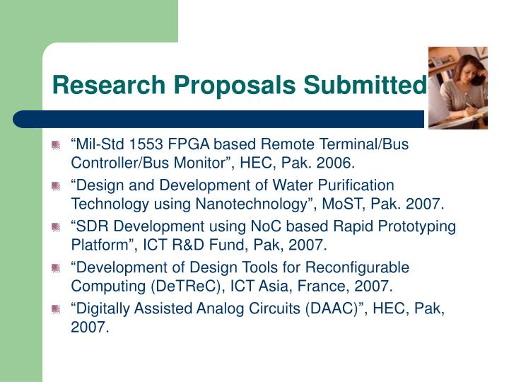 Research Proposals Submitted
