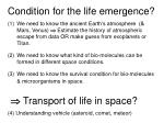 condition for the life emergence