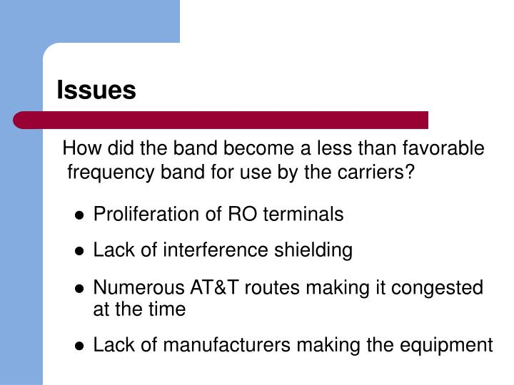 How did the band become a less than favorable frequency band for use by the carriers?
